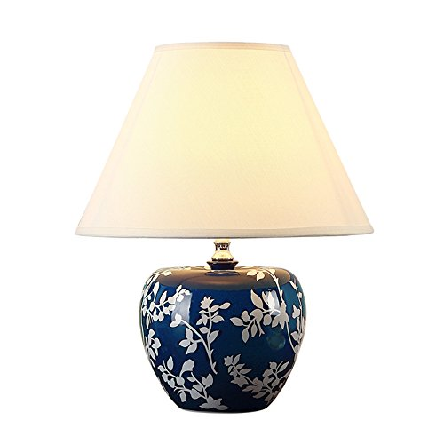 ZWL Lampe de Table En Céramique, Rétro Lampe de Table Chambre Lampe de Chevet Hôtel Villa Lampe Salon Mariage Salle Décoration Nostalgique Tissu Table Lampe Appareils Éclairage E27 Lampe Titulaire 36 * 48 CM fashion.z ( taille : 36*48cm )