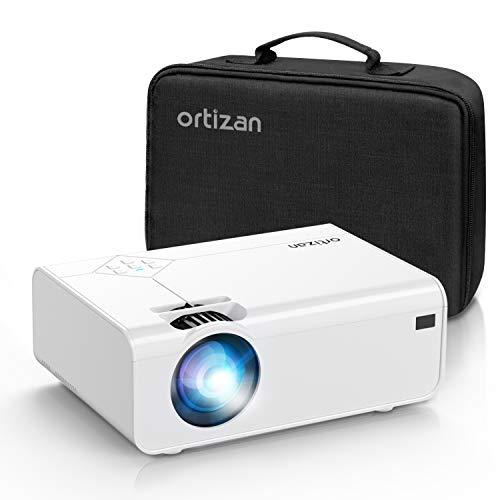 ORTIZAN Mini Proiettore 1080P Full HD, Proiettore Portatile da 5500 Lux, MAX di 200, LED a Lunga Durata 50000 Ore, per Home Theater e Presentazioni Aziendali, Compatibile con HDMI / AV / USB / SD