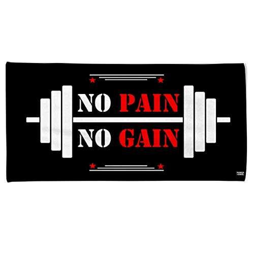 Power-Towel das coole Fitness & Sport-handtuch mit einer Botschaft| verschiedene Motivations-Quotes| Größe 50 cm x 100 cm | POWERTOWEL Handtuch ohne Mikrofaser (NO PAIN NO GAIN)