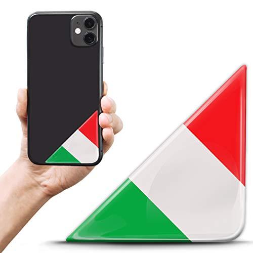 Biomar Labs 2 pegatinas de gel de silicona 3D para matrícula, tuning, coche, casco, tableta, portátil, teléfono móvil, bandera de Italia, F 135