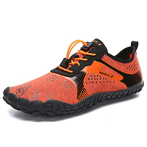 Zapatos de agua para hombre descalzos zapatos de trail running zapatillas gimnasio fitness senderismo senderismo zapatos de agua de secado rápido, naranja, 11UK
