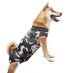 Combinaison de chirurgie pour chien - Confortable - Élastique - Respirante - Protection contre les plaies - Anti-fuite - Style décontracté (camouflage XL)