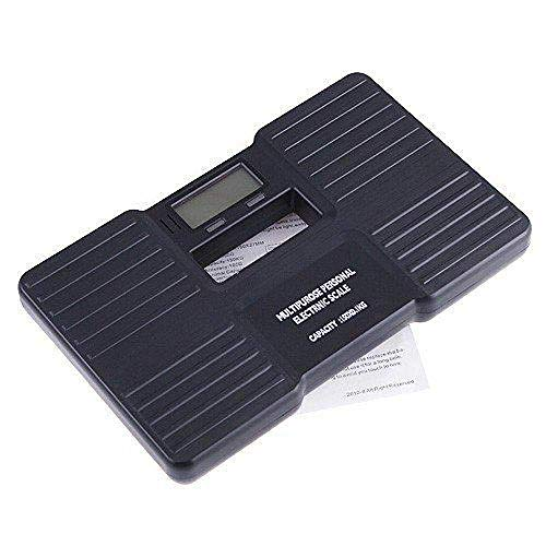 LQH Waage Körperwaage, Fußbodenheizung Solar Waage, Smart Electronic, LED Digital Gewicht Badezimmer Max 180kg, Schwarz