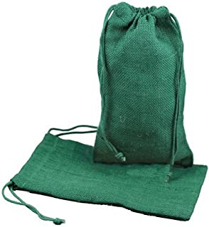 "Burlap Jute Favor Bags (Pack of 12) - Select from 8 Colors Available in 3 Sizes (6""x10"", Hunter Green)"