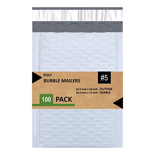 Sales4Less 5 Poly Bubble Mailers 10.5X16 Inches Padded Envelope Mailer Waterproof Pack of 100 , White