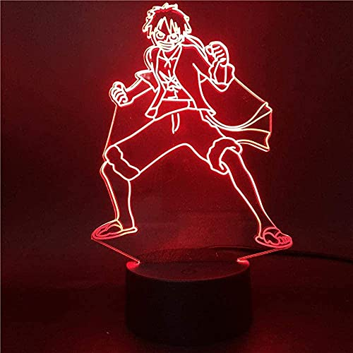 Luffy Animation 3D Night Light con control remoto 16 colores LED Touch Lámpara Lámpara de mesa Lámpara de dormitorio Lámpara de regalo para niños