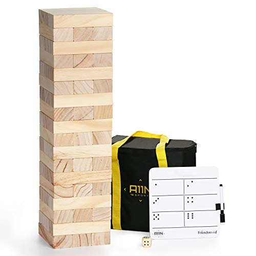 A11N Large Tumble Tower Game | 54 Blocks, Starts at 1.5 Feet Tall and Build to 3 Feet Tall | Wooden Stacking Yard Game with Carrying Bag, Rules Board, 1 Dice