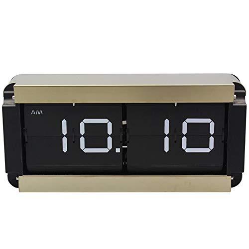 Digital Retro Flip Clock Auto-Flip Reloj de Engranajes internos de operación para el hogar decoración de la Pared Escritorio y Relojes de estanterías,Latón