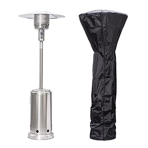 USC Procurement Gas Patio Heater – Portable Freestanding Outdoor Heater with Weatherproof Cover - Tabletop Gas Heater with Portable Wheels - 13.5KW (Silver)
