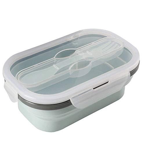 Cttiulifh De Silicona Plegable portátil de la Caja de Almuerzo Ensalada Durable Plegable Bento envase de alimento Tazón Vajilla Accesorios de Cocina (Color : Blue)