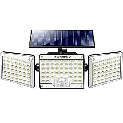 URPOWER Solar Security Lights Outdoor, 1000LM 130 LED Solar Motion Sensor Lights, 3 Adjustable Heads Solar Flood Lights IP65 Waterproof Wireless Outdoor Lighting for Front Door, Garage, Garden, Patio