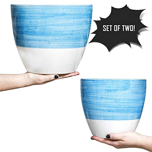Hash & Mash Premium 10' & 8' Ceramic Planter (Set of 2) - Large Ceramic Pots for Plants - Flower Plant Pots with Drainage Holes & Plugs - Sturdy, Durable Design Great for Indoor & Outdoor Use