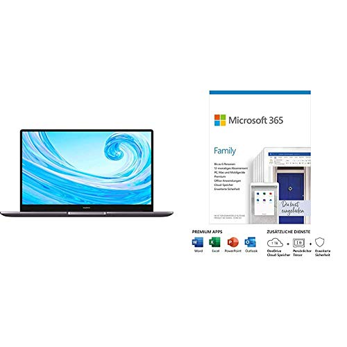 HUAWEI MateBook D 15 Zoll Laptop, FullView 1080p Full HD Ultrabook, 512 GB PCIe SSD, 8GB RAM, AMD Ryzen 7 3700 + Microsoft 365 Family | Box