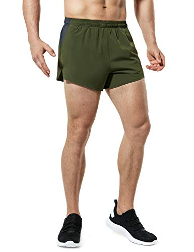TSLA Men's Active Running Shorts, Training Exercise Workout Shorts, Quick Dry Gym Athletic Shorts with Pockets, 4 Inch(mbh24) - Army Green, Medium