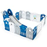 YOLENYBaby Playpen and Slide Set, Kids Activity Centre Safety Play Yard, Portable Design for Indoor Outdoor Use,17 Panel ,Grey