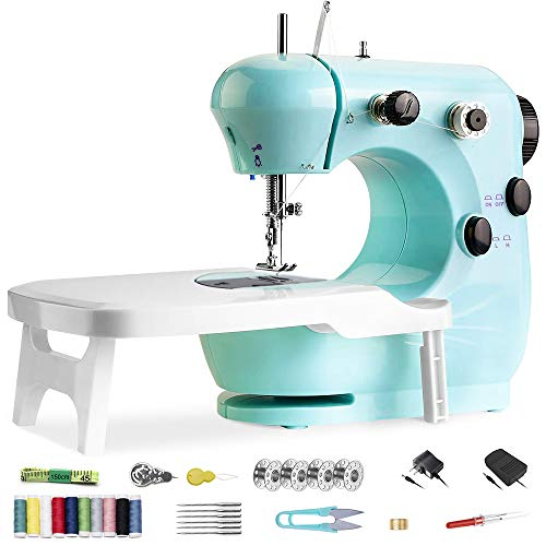 Sewing Machine, MGahyi Mini Portable Sewing Machine, Electric Crafting Mending Machine with Foot Pedal, Extension Table, Adjustable Two Speeds and Double Threads Sewing Tools for Beginners Tailors