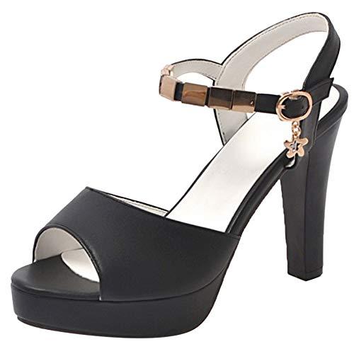 ELEEMEE Donna Elegant Tacco Chunky Sposa Sandali Platform Peep Toe Summer Scarpe con Cinturino alla Caviglia Black Numero 34 Asian
