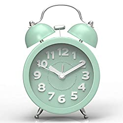 Pilife 3 Cute Twin Bell Alarm Clock for Bedroom,Retro Vintage Analog Alarm Clock with non Ticking, Super Loud for Heavy Sleepers (Mint Green)