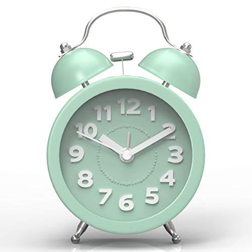 PILIFE Mini Child Silent Twins Bell, Reloj de Alarma analógico Junto a la Cama, con batería, Estilo Retro y clásico - Verde Menta
