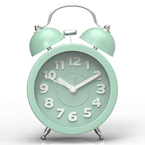 "Pilife 3"" Cute Twin Bell Alarm Clock for Bedroom,Retro Vintage Analog Alarm Clock with non Ticking, Super Loud for Heavy Sleepers (Mint Green)"