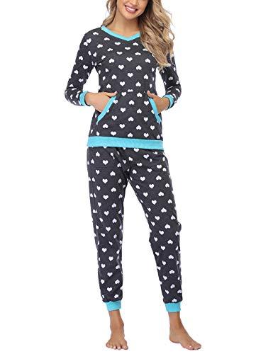 Aiboria Damen Schlafanzug Lang Pyjama Set Baumwolle Langarm Hausanzug Sleepwear V Ausschnitt Zweiteiliger Nachtwäsche
