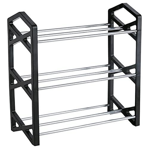 LYLY Zapatero de 3 niveles, de hierro, ligero, organizador de almacenamiento para zapatos, para entrada, pasillo y armario (color: negro, tamaño: pequeño)
