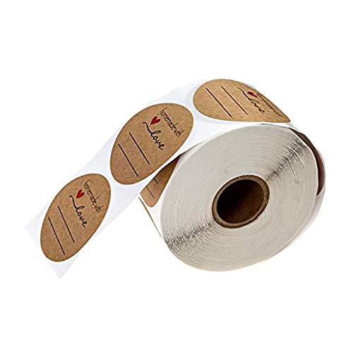 Hellery 500 STK. Kraft Selbstgemacht mit Liebe Aufkleber Label Papier Abdichtung Aufkleber Etiketten Rund Selbstklebend Geschenkaufkleber