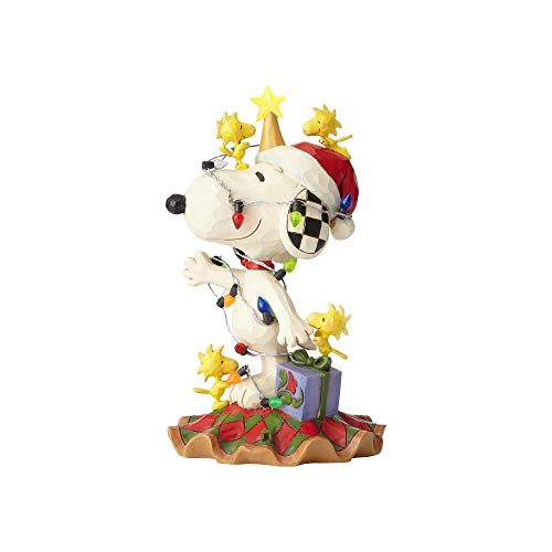 Enesco Peanuts by Jim Shore Woodstock and Snoopy with Christmas Lights Lit Figurine 6' Multicolor
