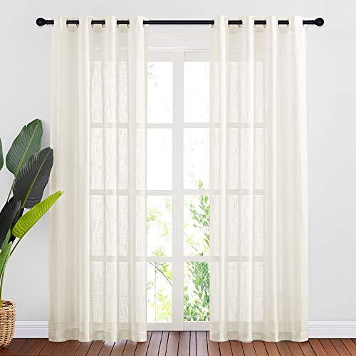 NICETOWN Linen Textured Sheer Window Curtains for Living Room, Grommet Top Linen Blend Privacy Semi Sheer Curtains for Patio/Sliding Door, Light Beige, 84' Long, 2 Panels =104' W