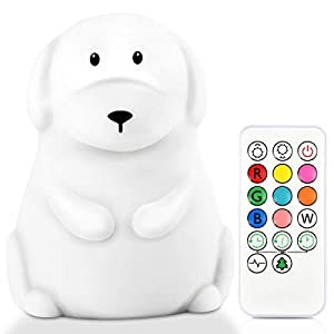 Yuede LED Nursery Night Light for Kids Cute Animal Baby Silicone Night Light with Touch Sensor and Remote Control – 9 Color Changing USB Rechargeable Portable Infant or Toddle Night Light & Baby Gifts