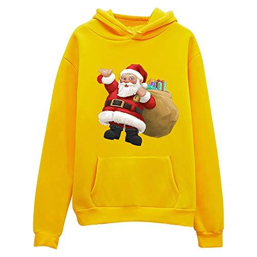 Cmofter Christmas Hoodie Women Santa Claus Print Top Sweatshirt Long Sleeve Pocket Blouse Sweater Yellow