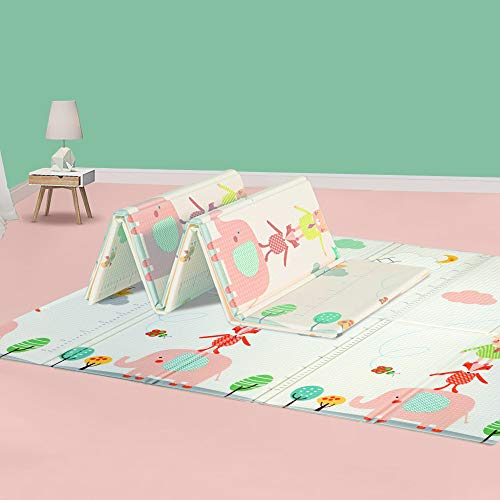 HyperSun Baby Play Mat - 0.6inch Thick Baby Crawling Mat Foldable - Non-Toxic Foam Baby Mats - Reversible Waterproof Portable Playmat for Infants, Toddler, Kid, Tummy time, Playing
