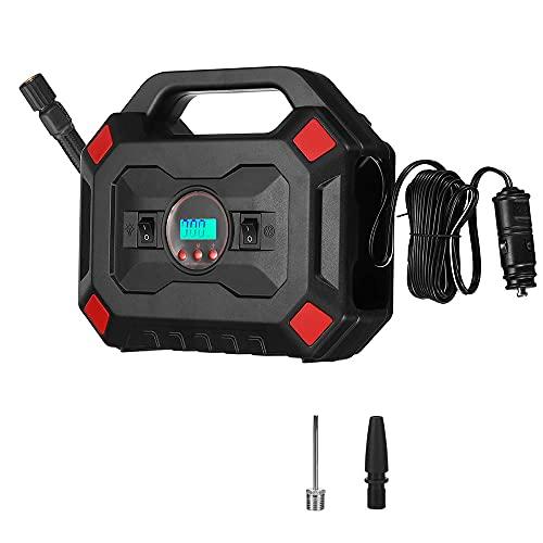 Siuber Compresor de Aire portátil, inflador de neumáticos Digitales para automóvil W/Auto Bomba/Apagado Función, para neumáticos de automóvil, Bicicletas y Otros inflables