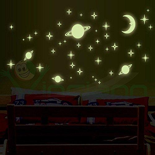 Vinciann Sticker Adesivo Fluorescente Luna e Pianeti Decorazione Adesiva Parete cameretta