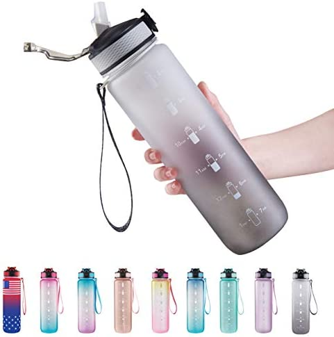 32 oz Water Bottle with Time Marker Carry Strap Leak Proof Tritan BPA Free Ensure You Drink product image