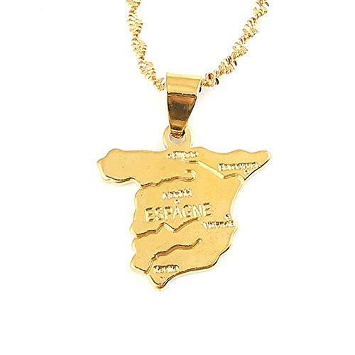 Kkoqmw Collar con Colgante de Mapa de España
