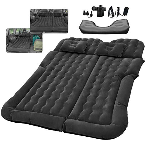 SUV RV Air Mattress Car Bed Camping Cushion Pillow - Inflatable Thickened Car Air Bed with Electric Air Pump Flocking Surface Portable Sleeping Pad for Travel Camping Minivan Van Trunk