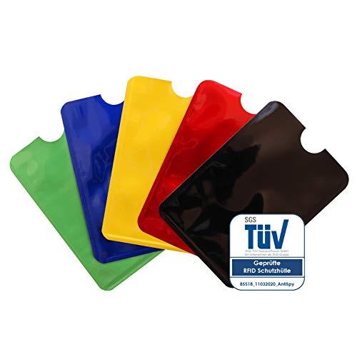 TÜV-geprüfte RFID Schutzhüllen NFC Blocker Kreditkarte, EC Karte Funk-Abschirmung - 5er Pack