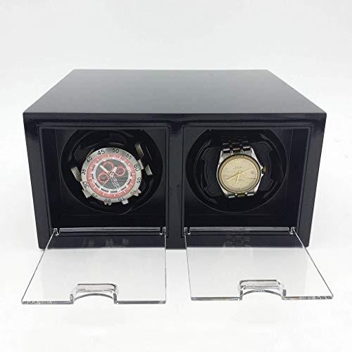 HJJ Uhr-Aufbewahrungsbox/Watch Box - Uhr-Anzeigen-Box Rütteltisch Drehscheibe Uhr Schmuck Storage Box Uhrenbeweger Uhrentasche/Betrachtungs-Display-Box (Color : Black)
