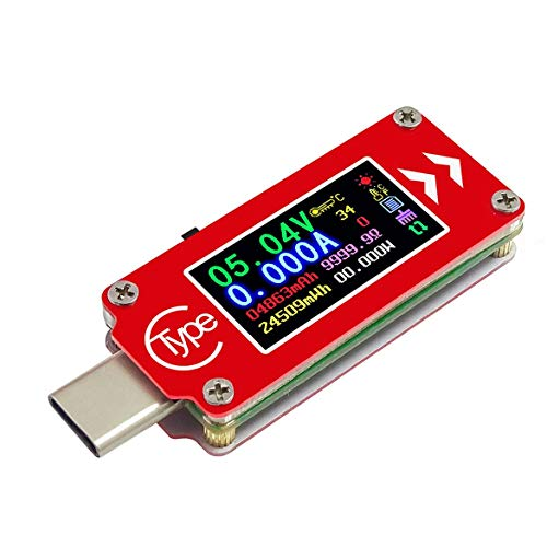 Pandamama Type-C Ammeter Tc64 Type-C Color LCD USB Voltmeter Ammeter Voltage Current Meter Multimeter Battery Pd Charge Power Bank USB Tester