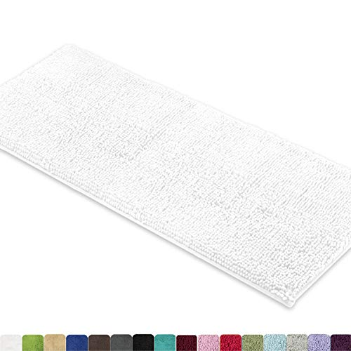 MAYSHINE Bath Mat Runners for Bathroom Rugs, Long Floor Mats, Extra Soft, Absorbent, Thickening Shaggy Microfiber, Machine-Washable, Perfect for Doormats,Tub, Shower (27.5X47 Inches White)