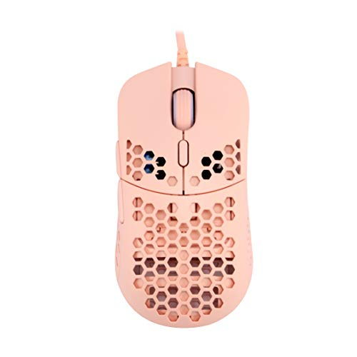 HK Gaming Mira M Ultra Lightweight Honeycomb Shell Wired RGB Gaming Mouse - Up to 12 000 cpi | 6 Buttons - 63g Only (Mira-M, Rose Quartz)