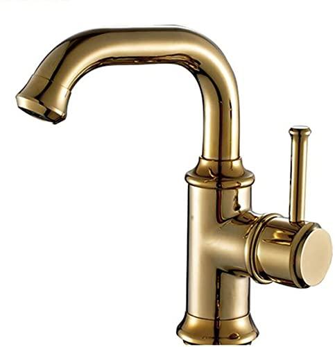 Nostalgia - Grifo monomando retro para lavabo, giratorio de 360 °, grifo monomando para lavabo, grifo monomando para lavabo, caño alto para baño, fabricado en latón (regular, dorado)
