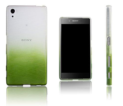 Xcessor Transition de Color Funda Carcasa para Sony Xperia Z5. Flexible TPU Gel con Gradient Hilo De Seda Textura. Transparente/Verde