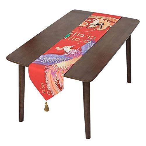 LYLLXL Tischläufer,Rote Phoenix Papier Schnittmuster Tischdecke Tischsets Für Geburtstag Hochzeit Abschlussfeier Bankett Hotel Küche Geschäft Büro, 11,8X70,87 (In) / 30Cm X180Cm