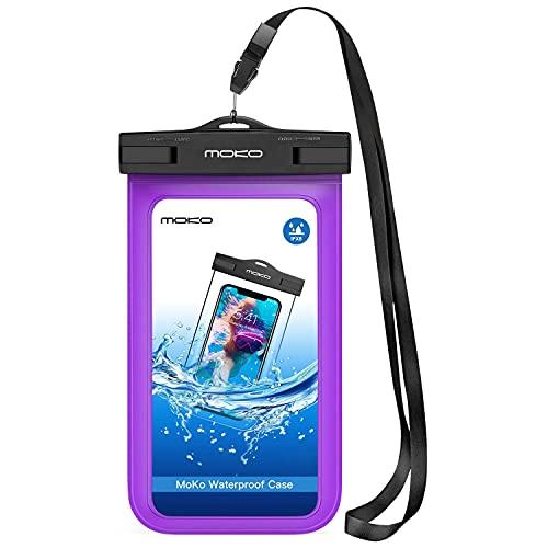 MoKo Funda Impermeable - Waterproof Brazo y Cuello Compatible para iPhone XS/XR /7/7 Plus/Galaxy S7/ S7 Edge/ P7 P8 P9 y Smartphone 5.7 Pulgadas - IPX8 Certificado, Morado