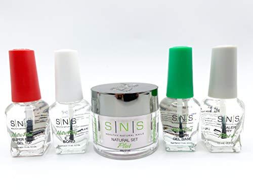 SNS Nail System Starter Kit 4 Bottles and 2oz Dipping Powder, Gel Base, Gel Top, EA Bond and Sealer Dry for SNS Dipping Powder Starter Kit Compatible Pink and White Dipping Powder