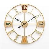 Gran Reloj de Hierro silencioso, decoración Moderna para el hogar, Estilo Creativo y Simple, Muy Adecuado para el Uso en la Sala de Estar, Reloj de Metal analógico de 24 Pulgadas (Dorado,20inch/50cm)