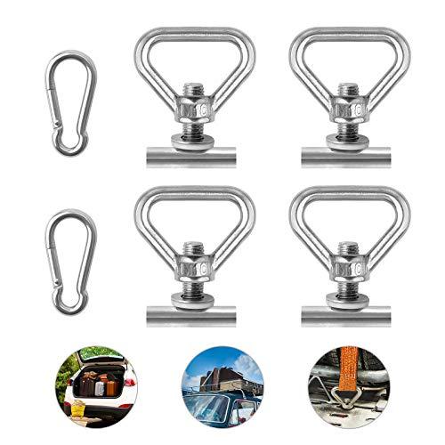VIGRUE Juego de 4 anillas amarre para asegurar la carga VW T5 T6 Bully, 2 mosquetones completamente acero inoxidable, Multivan, California, playa, Caravelle, asegura tu equipaje forma segura.