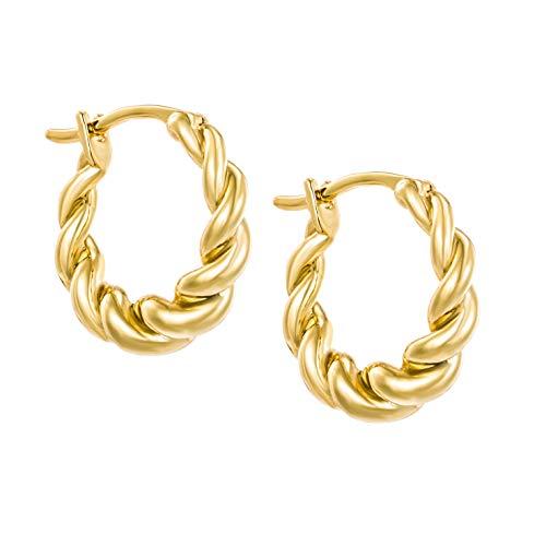 Brandlinger ® Atelier geschwungene Creole Gold aus vergoldetem 925 Sterling Silber, äußerer Durchmesser 16mm